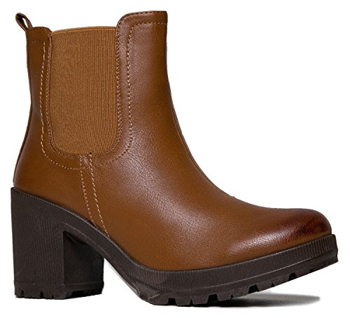 MarBel Womens Vegan Leather Chelsea Boot – Lightweight Pull on Casual Ankle Bootie,Color:TanPU,Size:6