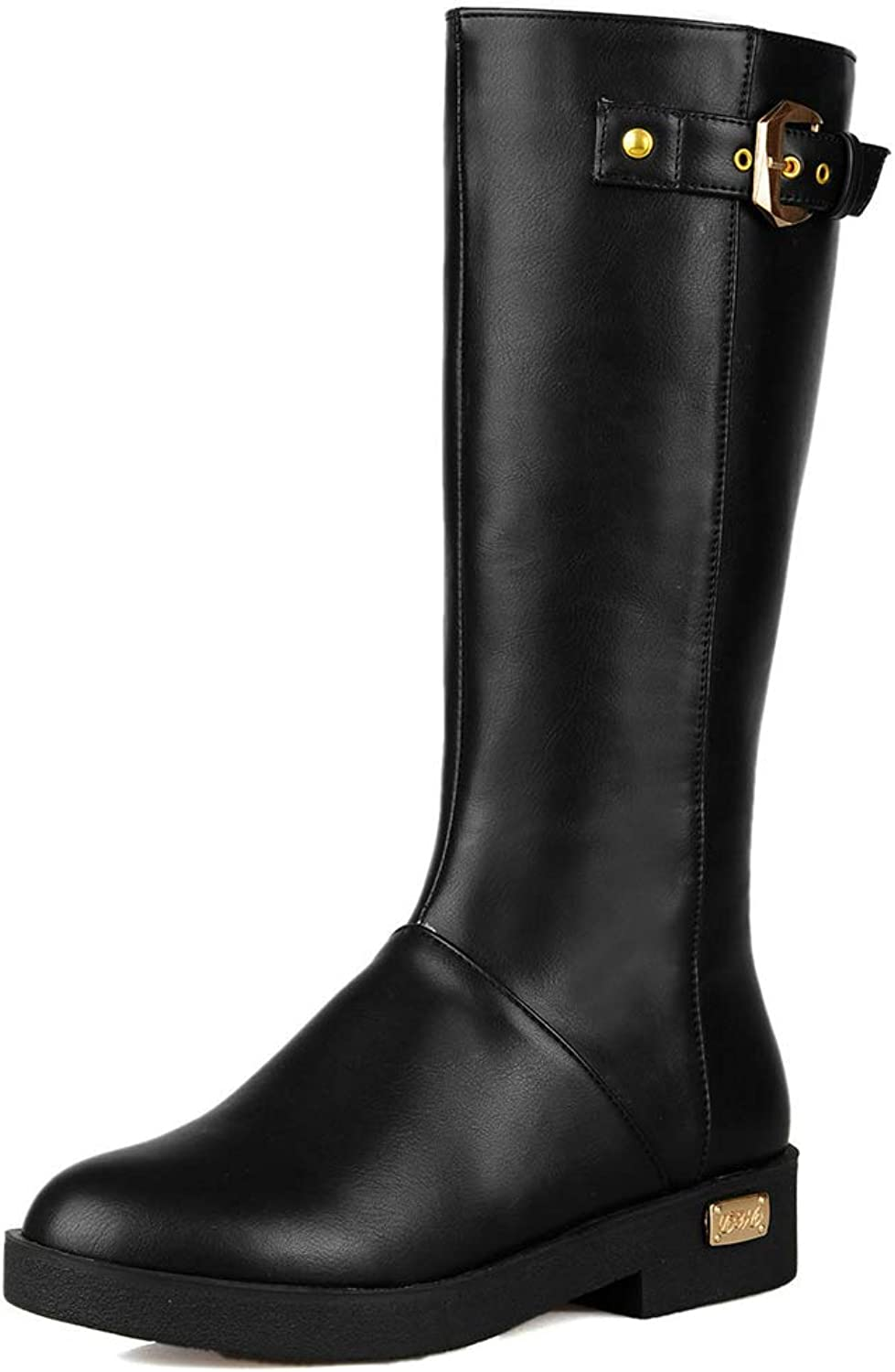Hoxekle Knee High Boots Low Heel Black Brown Female Winter Warm Fashion shoes Buckle Platform Long Boot