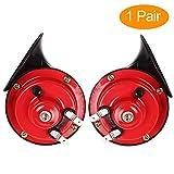 Bostar Claxon Moto 12v, Bocina de aire, con Forma de Caracol, Sonido Fuerte, 110 dB, Doble Tono, Universal para Coches, Camiones, y Furgonetas, 2PC Claxon Coche Bocina de Aire