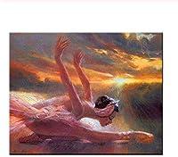大人と子供 ジグソーパズル300/500/1000 ピースジグソーパズル日没でバレエを踊る少女パズルに挑戦するパズルゲーム