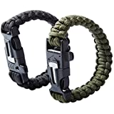 uooom 2Pcs Outdoor Survival multifunktionale Paracord Armband-Set mit Fire Starter Whistle Schaber