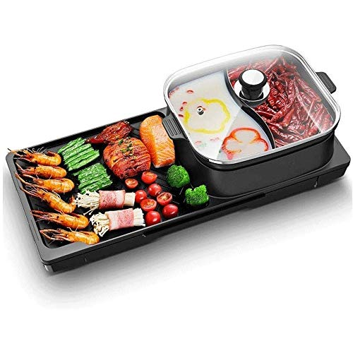 Lowest Prices! ZYK Indoor Electric Nonstick Grill Adjustable Thermostat/Shabu Shabu Pot with Divider...