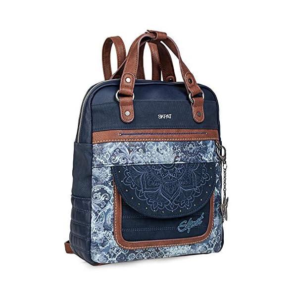 51 eXUHMBJL. SS600  - SKPAT - Bolso Mochila de Mujer. Diseño Casual. Práctico Cómodo Ligero y Resistente. Lona Estampada y Cuero PU Bonito Diseño. Estilo Elegante. Llavero. 304524, Color Azul