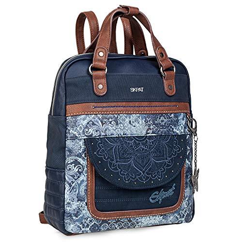 51 eXUHMBJL - SKPAT - Bolso Mochila de Mujer. Diseño Casual. Práctico Cómodo Ligero y Resistente. Lona Estampada y Cuero PU Bonito Diseño. Estilo Elegante. Llavero. 304524, Color Azul