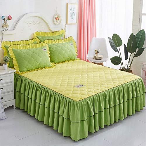 CQZM Koreanischer Einfarbig Bettrock Tagesdecke Verdicken Mit Rüschen Bettvolant Babybett Gesteppter Elastische Bed Skirt Single Double Queen Bett Röcke UmlaufendL-180x220cm(71x87inch)