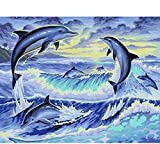 Pintura De Bricolaje Por Números Art Craft De Home Pared Decoración Para Niños Adultos Regalo Dibujo Kits Delfines Saltando 40X50Cm