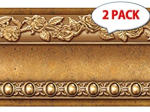Peel and Stick Wall Border Easy to Apply Band Wall Paper (2, Gold Brown)