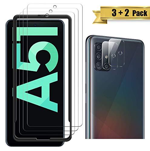 Topace, pellicola protettiva in vetro temperato per Samsung Galaxy A51, con vetro temperato per fotocamera (2), protezione display e fotocamera, durezza 9H, HD, trasparente, antigraffio, senza bolle