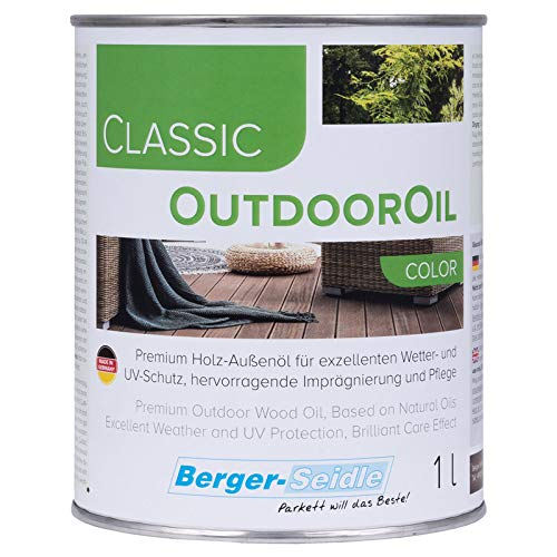 Palatina Workshop Berger-Seidle Outdoor Oil, Deep Waterproofing for Outdoors, 1 or 3 Litres, Perfect Wood Protection for Patio or Garden Furniture (1 Litre, Pine)