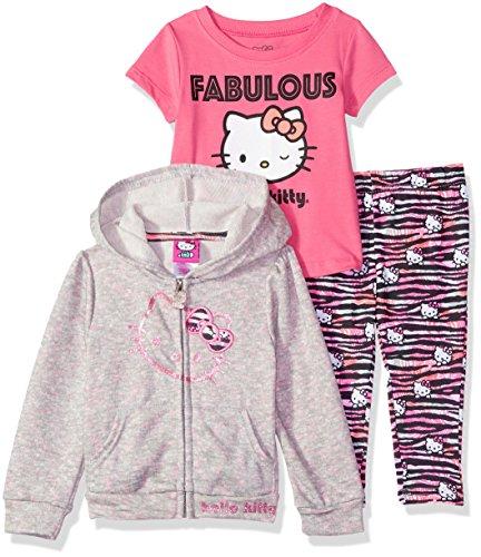 Hello Kitty Little Girls 3 Piece Zip Up Hoodie Legging Set with T-Shirt, Heather Gray, 4