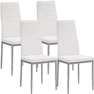 BAKAJI Set 2 Sedie Sala da Pranzo Salotto Cucina Design Moderno Struttura in Legno e Seduta Imbottita in Ecopelle Dimensioni 46 x 46 x 98,5 cm Bianco