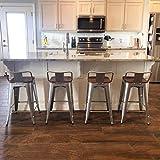 TONGLI Tongli Metal Bar Stools Kitchen Counter Height Barstools Set of 4 Metal Counter Stools 26 Inches (Silver, Low Back)