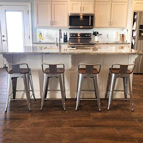 TONGLI Metal Counter Height Bar Stools Kitchen Counter Stools Set of 4 Metal Bar Stool 24 Inches Dining Chairs Wooden Seat Silver, Low Back