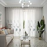 Alician - Cortina de tul con patrón de hojas bordadas, para cocina, sala de estar, dormitorio,...