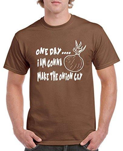 Comedy Shirts - one Day i am Gonna Make The Onion cry. - Herren T-Shirt - Braun/Weiss Gr. XL
