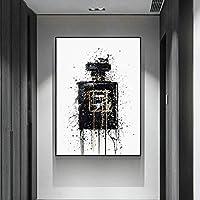 現代抽象芸術キャンバス絵画抽象黒香水瓶ポスターとプリント壁の絵リビングルームの家の装飾-50x70cm(フレームなし)