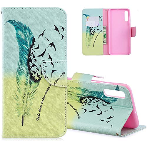 HMTECH Galaxy A70 Case Samsung Galaxy A70 Phone Cover Shockproof Blue Yellow Feather PU Leather Flip Notebook Wallet Case Magnetic Stand Card Slot Folio Bumper Case for Samsung Galaxy A70,BF A Feather