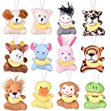 FUN LITTLE TOYS 12 PCs Easter Eggs Prefilled with Mini Animal Plush Toy 3.54 Inch, Small Plush Stuffed Animals for Kids Easter Party Favors, Easter Basket Stuffers, Easter Egg Fillers