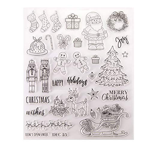 Merry Christmas Snowman Christmas Tree Berry Branch Ornament Socks Deer Santa Happy Holidays Rubber Stamps Clear Stamps for Christmas Card Making Decoration Scrapbooking Rubber Stamps for Crafts