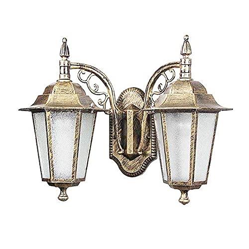 IP55 - Lámpara de pared exterior con 2 cabezales para exteriores, impermeable, para puerta de piedra, creativa, farol de pared para patio, patio, antióxido, E27 Edison (color bronce)