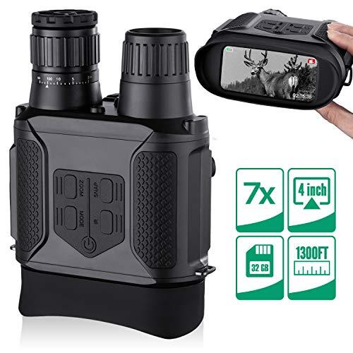 """Binoculares Digitales Vision Nocturna, Tomar Fotos y Videos -Equipo de Espionaje infrarrojo de 3.5-7x31mm,850nm IR-Pantalla Grande de 4 """", Rango de visualización con Tarjeta de Memoria 32G"""