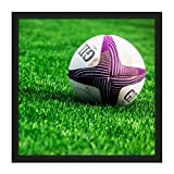 Sport Rugby Ball Field World Cup Photo Square Wooden Framed Wall Art Print Picture 16X16 inch Ballon Champ Monde Photographier Bois Mur Image