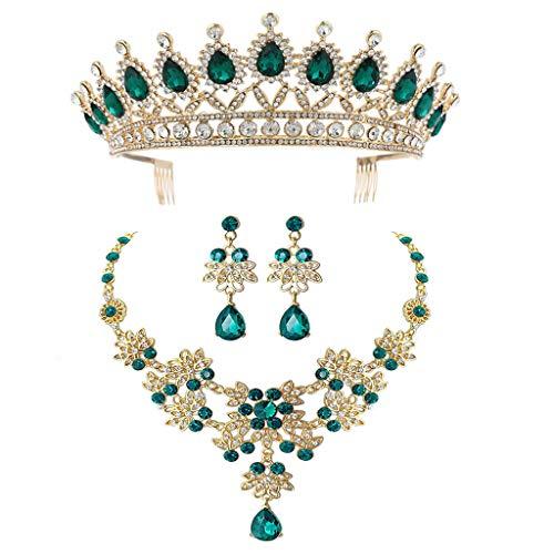 N/A. Corona de novia verde de pelo triple joyería de ropa de boda, moda para mujer, matrimonio, collar y pendientes, juego de joyas para amigos
