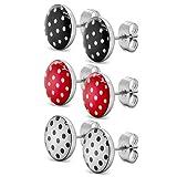 Soul-Cats® 3 Paar SET Ohrstecker mit Punkten, Polka Dots 50er Pinup, Farbe: rot mit Punkten, Farbe:...