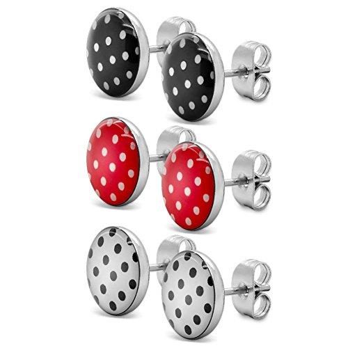 Soul-Cats® 3 Paar SET Ohrstecker mit Punkten, Polka Dots 50er Pinup, Farbe: rot mit Punkten, Farbe: Set 3 Farben