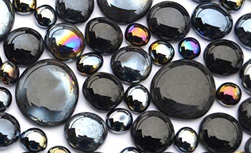 330 Gramm Dekosteine Glasnuggets Schwarzmix, in 3 versch. Größen 10-33 mm, ca.80 St. Nicht transparent, teilweise irisierend oder silbern schillernd
