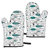 hgdfhfgd Mid Century Modern Fish Oven Gloves,Heat Resistant Non-Slip Kitchen...