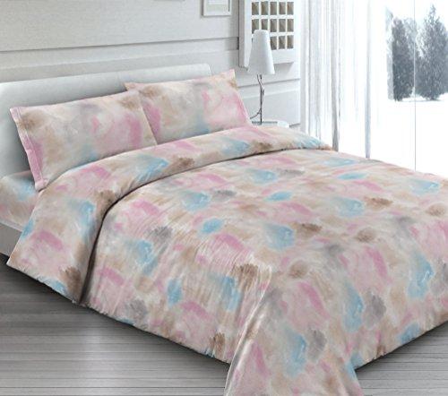Smartsupershop Housse de Couette avec taies d'oreiller pour lit – Fantaisie de Couleurs – Y Compris sous avec Coins en coordonné – en Coton Fabriqué en Italie
