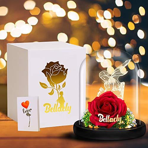La Bella y la Bestia Rosa, Kit de Rosa Encantada, Principito Elfos Luces LED en Cúpula de Cristal con Base Pino, Romántica Regalo para día de San Valentín Día de la Madre cumpleaños Boda Aniversario