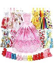 Eligara Dockkläder och tillbehör för docka, babydocka kläder klänningar skor set inkluderar 10-pack docka festkläder 1 syklänning & 10 par dockskor för flickor födelsedag