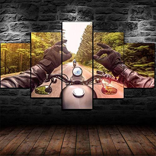 AWER 5 Piezas Modernos Mural Fotos Viaje en bicicleta HarleyDavidson para Salon,Dormitorio,Baño,Comedor Dibujo con Marco Fotografía para Oficina Aniversario