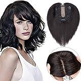 SEGO Hair Topper Donna Uomo Capelli Veri Clip Lace Toupee Extension Toupet Remy Human Hair Indiani Effetto Invisibile 15cm 27g (Base 10cm*12cm con Silk Top) - #1B Nero Naturale