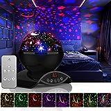 Amouhom Sternenhimmel Projektor Lampe mit Fernbedienung, LED Nachtlicht mit Wiederaufladbare Batterie 360 Drehen und Timing Schlaflicht für Kinders Schlafzimmer Romantische Geschenke...