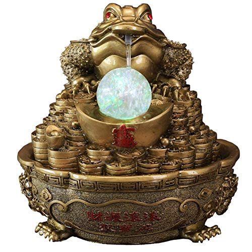 LXHJZ Money Frog, Fuentes Mesa y cascadas Interior, Cascada para Estanque, decoración Adornos Feng Shui, Regalo felicitación inauguración la casa