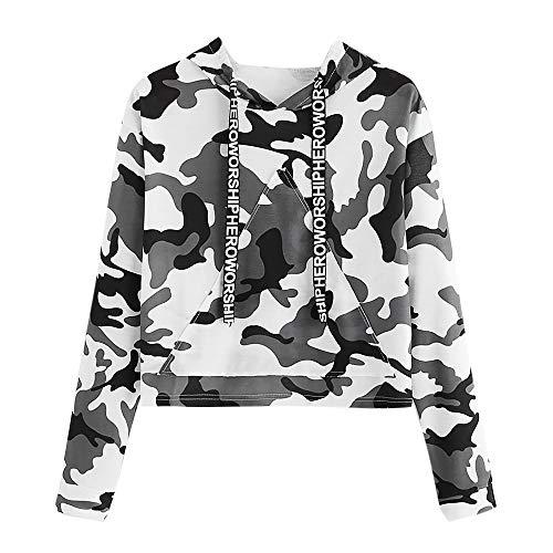 VECDY Damen Pullover, Räumungsverkauf- Herbst Frauen Tops Hoodie Langarm Sweatshirt mit Tarnmuster und Kapuzenpullover Oberteile Bluse Mode Tshirt