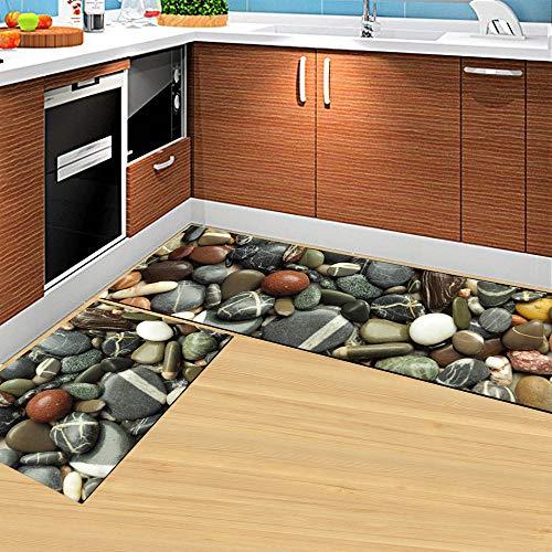 Morbuy Estera de Cocina Felpudos Divertidos, Fácil de Limpiar Alfombra de Baño Antideslizante Lavable (40 * 120CM, Piedra Gris)