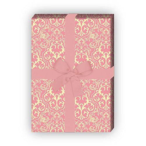 Kartenkaufrausch Klassisches Retro Geschenkpapier Set 4 Bogen mit grafischem Vintage Muster, rosa, für tolle Geschenk Verpackung, Designpapier, scrapbooking 32 x 48cm