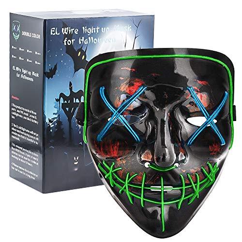 HOMFUL LED Halloween Mask Scary Costume Mask/ EL Wire Light 3 Flashing Modes