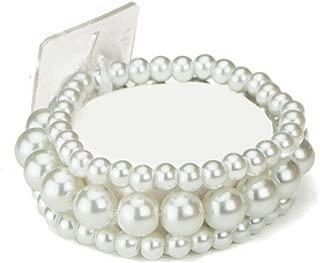 Bubble Pearl Beaded Corsage Wristlet in Sugar White