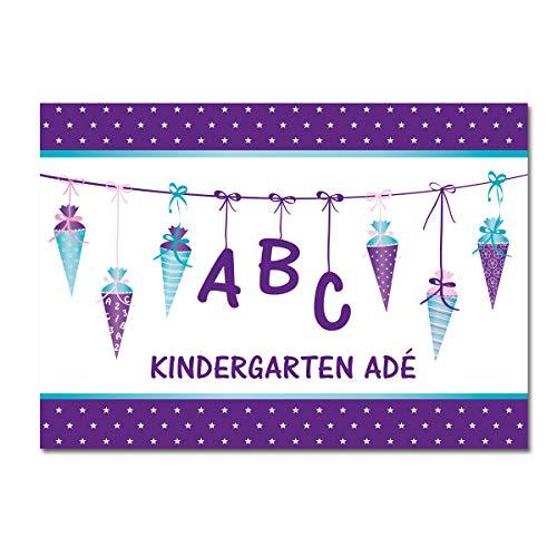 Kreatives Herz - ABC Einladungskarten zur Einschulung (15er Set - A6) für Mädchen Einladungen Schulanfang Kinder Party 1. Schultag Schultüte Zuckertüte LILA (15 Karten)