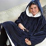 NOVECASA Huggle Hoodie Ultra Plush Blanket Hoodie Sudadera con Capucha de Felpa Reversible Suave Y Cálido de Invierno para Interiores Y Exteriores Mujeres y Hombres (Azul)