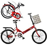 Ligera mini bicicleta plegable Pequeño Bicicleta plegable Amortiguador de bicicleta portátil con neumáticos antideslizantes para Adultos de bicicletas Estudiante - 16 pulgadas / 20 pulgadas,C,20in