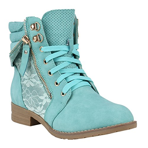 stiefelparadies Damen Stiefeletten Schnürstiefeletten Worker Boots Zipper Schuhe 144298 Hellgrün Autol 40 Flandell