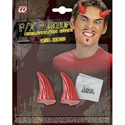 Widmann 4171D Spezial Effekt Set Teufelshörner, Unisex– Erwachsene, Rot, One Size