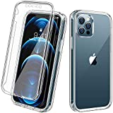 Diaclara Compatible with iPhone 12 Case, iPhone 12 Pro Case, with Built-in Screen Protector Shockproof Full Body Protective Hard PC & Soft TPU Bumper Hybrid 6.1 inch Cover (2020) - Clear