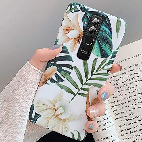 Uposao Kompatibel mit Huawei Mate 20 Lite Hülle Silikon Ultra Dünn Handyhülle 3D Blumen Blätter Bunt Muster Weich TPU Schutzhülle Etui Kratzfest TPU Bumper Handytasche Case Cover,Weiß Blume